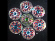 Rangoli art on cd Diwali decoration idea - YouTube