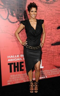 @roressclothes clothing ideas #women fashion Halle Berry Black Draped Knit Top