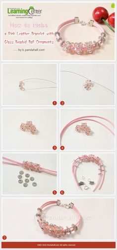 Tutorial on How to Make a Pink Leather Bracelet with Glass Beaded Ball Ornaments from LC.Pandahall.com