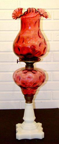 Vintage 1890's Antique Victorian Cranberry Milk Glass Kerosene Oil Lamp Shade | eBay
