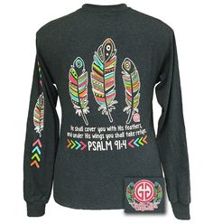 Girlie Girl Aztec Feathers Psalm 91:4 Christian Grey Long Sleeves T Shirt