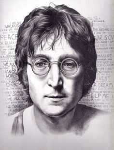 John Winston Ono Lennon Art Print - A beautiful John Lennon drawing by Kate Powell. Your work is incredible Kate - this is awesome. Beatles Art, John Lennon Beatles, The Beatles, Jhon Lennon, Pencil Portrait, Portrait Art, Portraits, Amazing Drawings, My Drawings