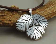 Wildflower Foliage Pendant - Squirrel Corn (Dicentra canadensis) - Sterling Silver and Copper