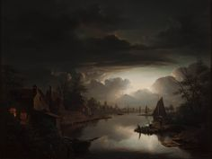 River in the light of the silvery moon (1843)  	Petrus van Schendel (1806-1870)