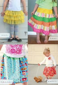 Easy ruffle skirt - old tshirt underneath,hemmed over iron-on interfacing,  3 rows of 4'x 110' chiffon on top, elastic on top of that. Easy peasy!