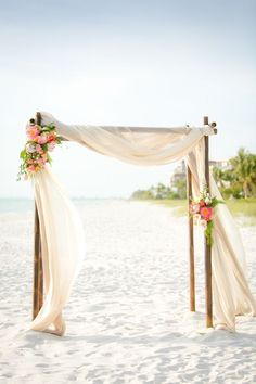 This is the primary example of what we want for the wedding arch. From: simple beach wedding arch Beach Ceremony, Ceremony Arch, Wedding Ceremony, Wedding Venues, Wedding Themes, Wedding Dresses, Beach Wedding Reception, Outdoor Ceremony, Reception Ideas