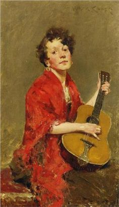 Girl with Guitar - William Merritt Chase  1886, Private Collection