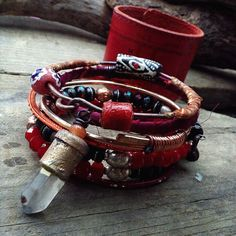 Gypsy bangle stack with quartz crystal and red leather cuff from Quisnam on etsy