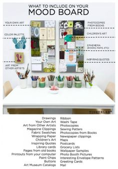 Ideas on what to include on your mood board