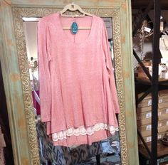 Rose, lace tunic. Sm thru lg. $34.  Tula J Boutique is a trendy boutique in Trussville, AL that carries ladies and tween clothing, purses, shoes, jewelry, accessories, and more! Call (205) 655-5333 or stop by TODAY if you'd like to buy this item!