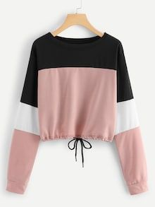 To find out about the Drawstring Hem Color Block Sweatshirt at SHEIN, part of our latest Sweatshirts ready to shop online today! Girls Fashion Clothes, Teen Fashion Outfits, Outfits For Teens, Girl Outfits, Clothes For Women, Ootd Fashion, Stylish Clothes, Fashion Dresses, 40s Fashion