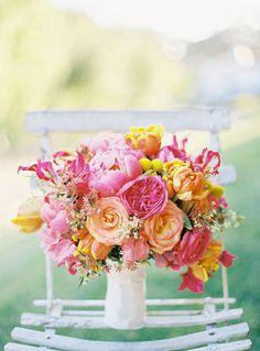 Peonies, Garden Roses, Billy Balls Bouquet Pink orange and yellow wedding flowers white satin wrap Floral Wedding, Wedding Colors, Wedding Bouquets, Wedding Flowers, Purple Bouquets, Bridesmaid Bouquets, Flower Bouquets, Purple Wedding, Elegant Wedding