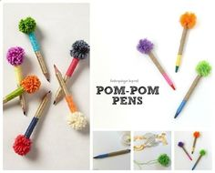 Pompom Pens - Make your own pompom pens with yarn, twine, and some simple wrapping techniques. This post has the details. Anthropologie Hacks For Every Facet Of Your Life