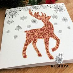Henna Inspired designs - Reindeer and Snowflake Christmas Card - So Elegant and Beautiful