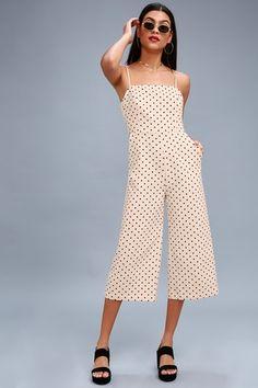San Clemente Black and Cream Polka Dot Culotte Jumpsuit 1