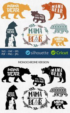 Mama bear svg files Baby Bear cut files for Cricut dxf Inkscape DIY craft files vector downloads Heat Press Transfer Vinyl Machine HTV