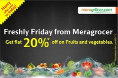 #TGIF Enjoy Freshly Friday offer with #Meragrocer. Get 15% off on Fresh Fruits and Vegetables. Click here and order online..   bit.ly/Fruit_and_Vegetables Online Supermarket, Fresh Fruits And Vegetables, Tgif, Health Tips, Friday, Yummy Food, Recipes, Delicious Food, Recipies