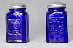 Salt Pepper Shaker Set Cobalt Blue Depression Style Glass