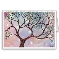 Tree on Vellum with Watercolor Background Greeting Card