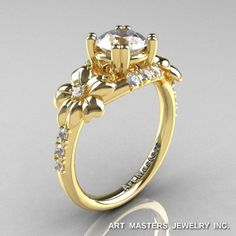 Nature Inspired 14K Yellow Gold 1.0 Ct Russian CZ Diamond Leaf Vine Ring R245-14KYGDCZ