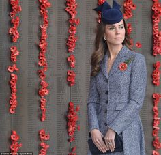 Tribute: The Duchess laid a wreath of poppies after the Anzac march at the Australian War Memorial, Canberra. April 25, 2014