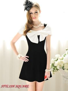 Elegant Black and White Splicing Wrapped Shoulder Bowknot A Type Dress
