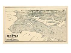 1925, Seattle Bird's Eye View, Washington, United States Giclee Print at Art.com