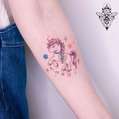 Tiny Tattoos For Girls, Small Tattoos, Tattoos For Women, Colour Tattoo For Women, Color Tattoo, Pastel Tattoo, Kawaii Tattoo, Unicorn Tattoos, Sexy Tattoos