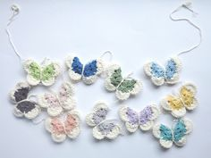 Pantone Butterfly Garland 100% Cotton, Crochet. I've made lots of butterflies lately, including a custom order colourful butterfly garland for someone special. I had a lovely time playing around wi...