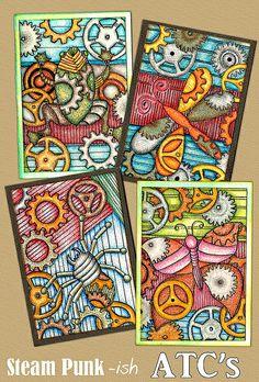 A few weeks back I signed up for an art-swap that was based on a steam punk theme. Atc Cards, Card Tags, Art Trading Cards, 4th Grade Art, Zen Art, Art Classroom, Art Journal Inspiration, Mail Art, Elementary Art
