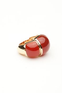 VAID 18kt. Yellow Gold and Carnelian ring. Available at Amanda Pinson Jewelry. Shop: www.amandapinsonjewelry.com