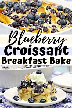 Blueberry Croissant Breakfast Bake You won't be able to resist a second slice of this delicious overnight breakfast casserole made with flaky croissants, cream cheese, and fresh blueberries. Croissant Breakfast Casserole, Overnight Breakfast Casserole, Breakfast Bake, Best Breakfast, Chorizo Breakfast, Mexican Breakfast, Savory Breakfast, Croissant Nutella, Vegan Croissant