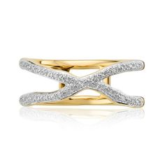 Order today with next day delivery. Taking inspiration from waves and soft edges the 18ct Gold Vermeil on Sterling Silver Riva Wave Cross Ring features two crossing diamond bands set with sparkling pave diamonds...