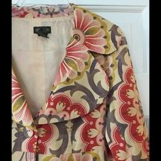"""Fei corduroy blazer Stunning corduroy swing jacket in a vivid floral print. Two pockets, front button close. 100% cotton with 100% acetate lining. Underarm across 18"""". Length 20"""". Excellent condition. Anthropologie Jackets & Coats Blazers"""