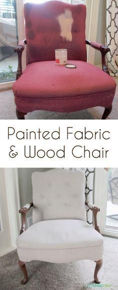 Fabric Chair Makeover Project: Painted Fabric & Wood Painted fabric and wood chair using chalk-based paint and antiquing wax - such an easy update!Painted fabric and wood chair using chalk-based paint and antiquing wax - such an easy update! Furniture Projects, Furniture Making, Diy Furniture, Furniture Stores, How To Paint Furniture, Levin Furniture, Furniture Price, Furniture Repair, Furniture Refinishing