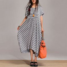2colors Large size loose  stripe dress, Short sleeve relaxation big dress SF48