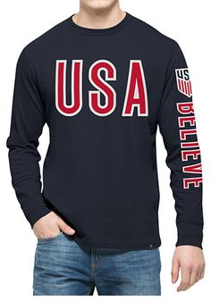 This Team USA Mens Navy Blue Crosstown Team Long Sleeve Fashion T Shirt is a great way to make a bold statement for your favorite team! Rally House has a great selection of new and exclusive Team USA t-shirts, hats, gifts and apparel, in-store and online. Team Usa, Usa Soccer Team, A Team, Usa Gear, America Outfit, Casual Outfits, Men Casual, Usa Store, Patriotic Outfit