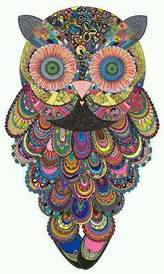 seek peace and balance - misscannabliss: Ellie Psychedelic Owl Art by...