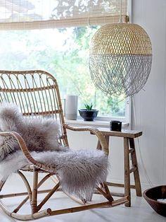 lampe bambou dans le salon style nordique vintage Rotin, Suspension Boule,  Suspension Chambre, ad12b678e40c