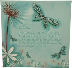 Lisa Pollock Cute Blue Dragonfly Destiny Wall Stretch Canvas over wooden Frame | eBay $40 with free shipping Australia wide...