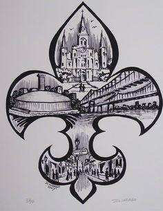 Fleur De Lis Painting by the famous New Orleans artist David Wargo. Traditional New Orleans. Louisiana Tattoo, Louisiana Art, Louisiana History, New Orleans Tattoo, New Orleans Art, Future Tattoos, New Tattoos, Tatoos, State Tattoos