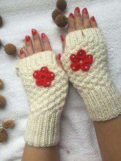 Hand Knitted Fingerless Gloves Female white by PinarKnitting