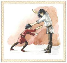 """A Lesson in Swordsmanship,"" by  Katarzyna Karina Chmiel-Gugulska.  Boromir and Faramir -- too cute."