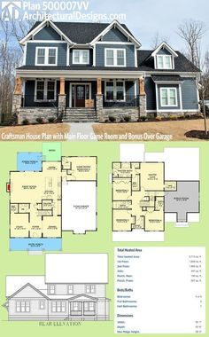 Architectural Designs Craftsman House Plan 500007VV has a sturdy front porch with stone and timbers. Inside you get 4 to 5 beds, a main floor game room and a bonus room over the garage. Over 3,700 square feet of heated living space. Ready when you are. Where do YOU want to build?