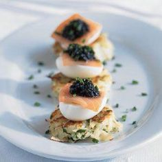 Potato Latkes with smoked salmon, quail egg and caviar (Williams-Sonoma recipe). Yum!