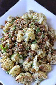 Roasted Cauliflower Chickpea Salad