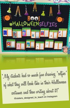 """""""My students had so much fun drawing """"selfies"""" of what they will look like in their Halloween costumes and then writing about it. First Day Of School Activities, Autumn Activities For Kids, Halloween Activities, Writing Activities, Classroom Activities, Halloween Costumes, Writing Ideas, Halloween Art, Classroom Ideas"""