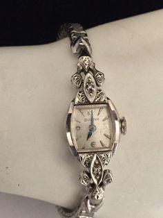 Vntg Bulova Ladies 14K White Gold Diamond Wristwatch + GF Watch Band *Running* #Bulova