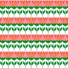 Rows of retro tulips. Modern retro cross by crossstitchtheline