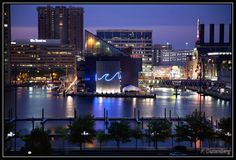 Baltimore Inner Harbor at night.  We used to live in Reisterstown, MD--which is just outside of the Baltimore area.  Home of retired professional baseball player Cal Ripken, Jr.